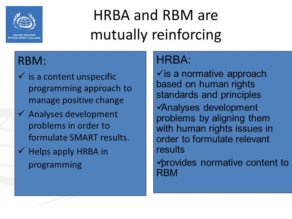 HRBA and RBM are mutually reinforcing RBM: is a content unspecific programming approach to manage positive change Analyses development problems in ord