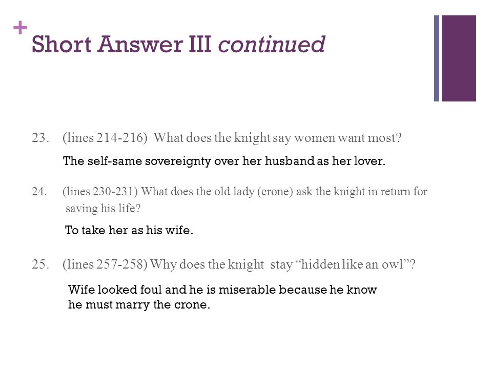 + Short Answer III continued 23. (lines 214-216) What does the knight say women want most? 24. (lines 230-231) What does the old lady (crone) ask the