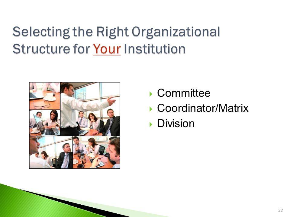 22  Committee  Coordinator/Matrix  Division