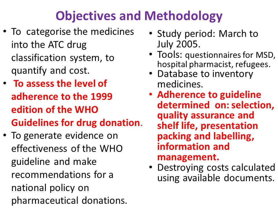 Objectives and Methodology To categorise the medicines into the ATC drug classification system, to quantify and cost. To assess the level of adherence
