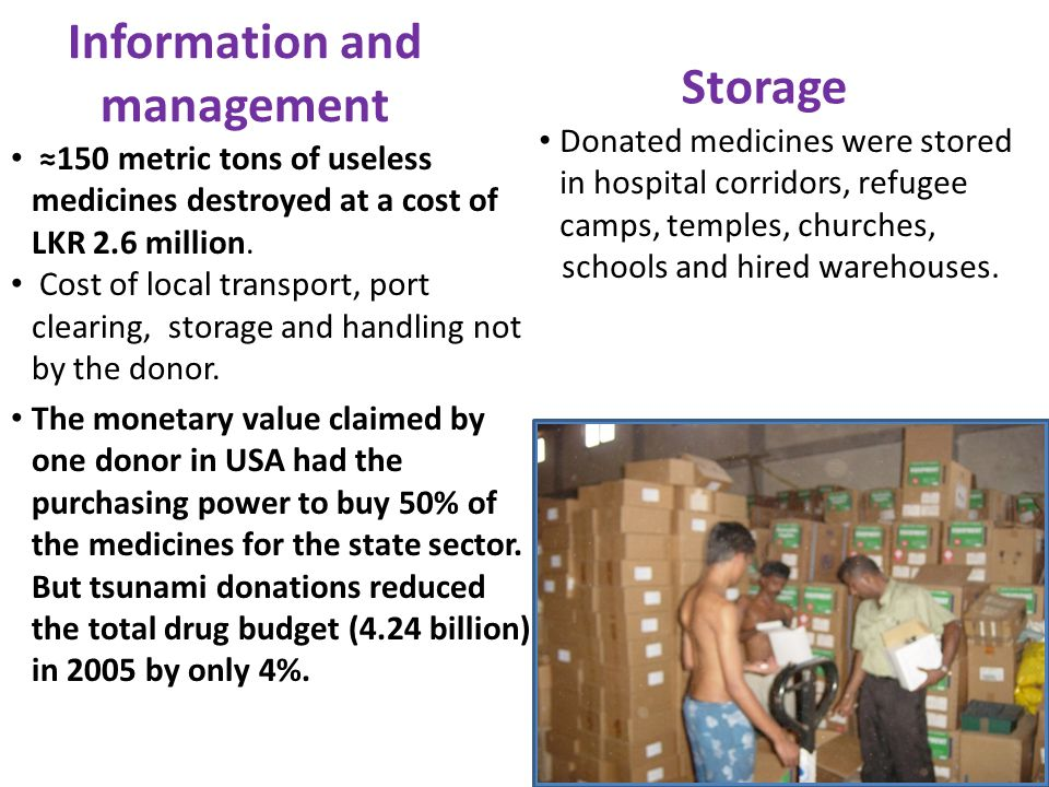 Information and management ≈150 metric tons of useless medicines destroyed at a cost of LKR 2.6 million.