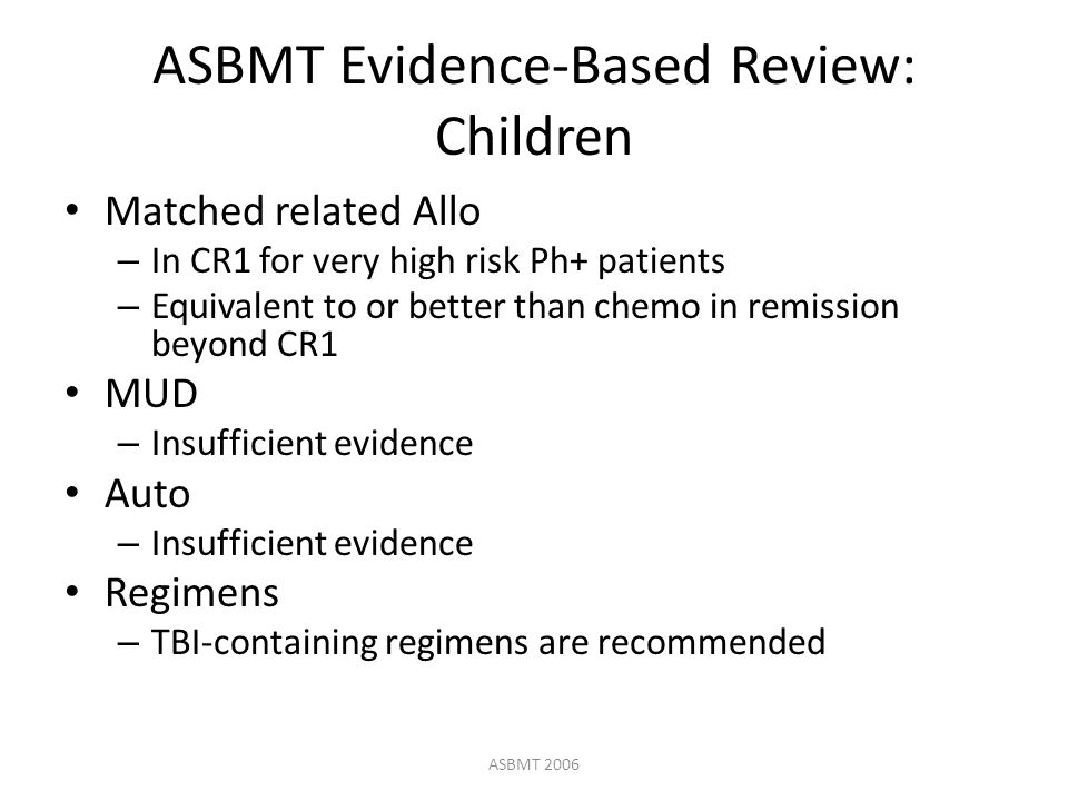 ASBMT Evidence-Based Review: Children Matched related Allo – In CR1 for very high risk Ph+ patients – Equivalent to or better than chemo in remission beyond CR1 MUD – Insufficient evidence Auto – Insufficient evidence Regimens – TBI-containing regimens are recommended ASBMT 2006