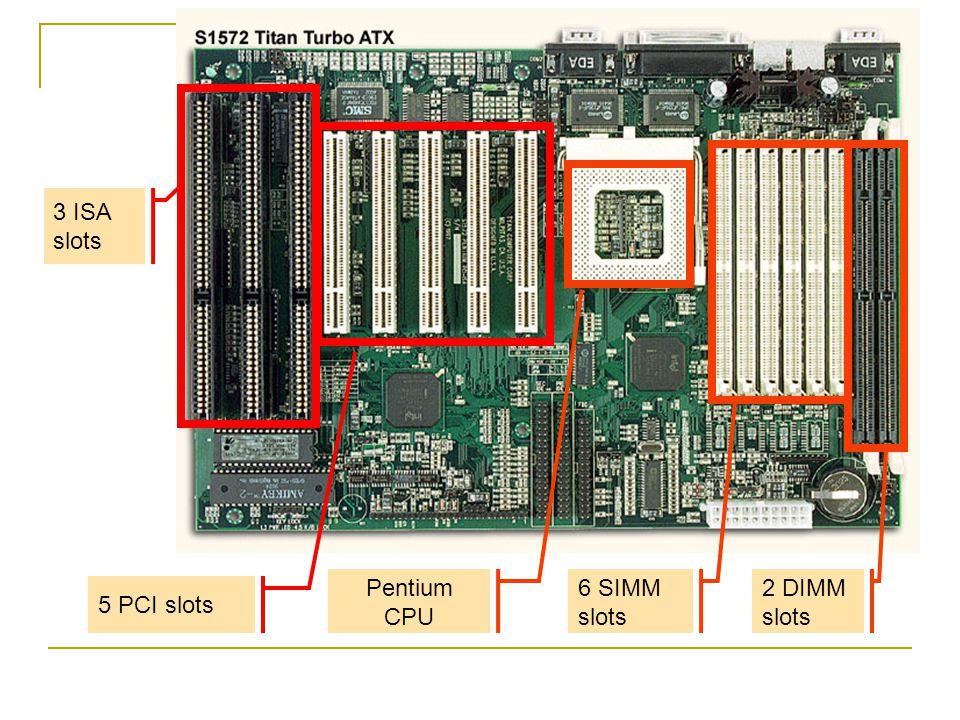 3 ISA slots 5 PCI slots Pentium CPU 6 SIMM slots 2 DIMM slots