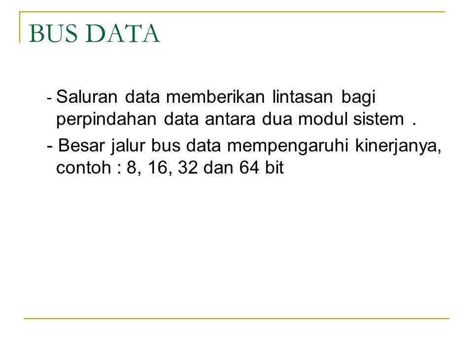 BUS DATA - Saluran data memberikan lintasan bagi perpindahan data antara dua modul sistem. - Besar jalur bus data mempengaruhi kinerjanya, contoh : 8,