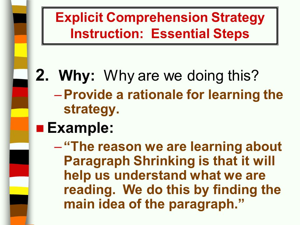 "2. Why: Why are we doing this? –Provide a rationale for learning the strategy. Example: –""The reason we are learning about Paragraph Shrinking is that"
