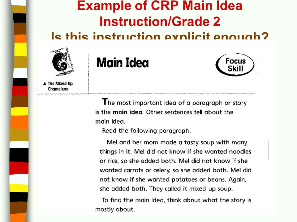 Example of CRP Main Idea Instruction/Grade 2 Is this instruction explicit enough?