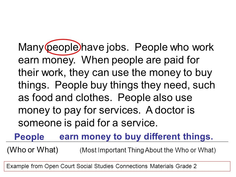 Many people have jobs. People who work earn money. When people are paid for their work, they can use the money to buy things. People buy things they n