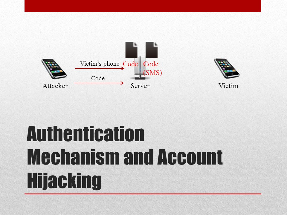 Authentication Mechanism and Account Hijacking Attacker Victim Server Victim's phone Code (SMS) Code