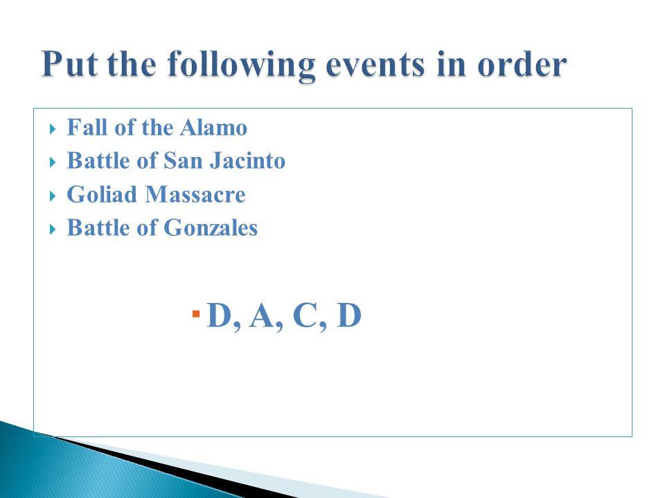  Fall of the Alamo  Battle of San Jacinto  Goliad Massacre  Battle of Gonzales  D, A, C, D