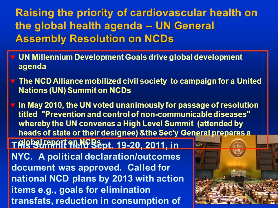 UN General Assembly Resolution on NCDs Raising the priority of cardiovascular health on the global health agenda -- UN General Assembly Resolution on NCDs ♥UN Millennium Development Goals drive global development agenda ♥The NCD Alliance mobilized civil society to campaign for a United Nations (UN) Summit on NCDs ♥In May 2010, the UN voted unanimously for passage of resolution titled Prevention and control of non-communicable diseases whereby the UN convenes a High Level Summit (attended by heads of state or their designee) &the Sec y General prepares a global report on NCDs.