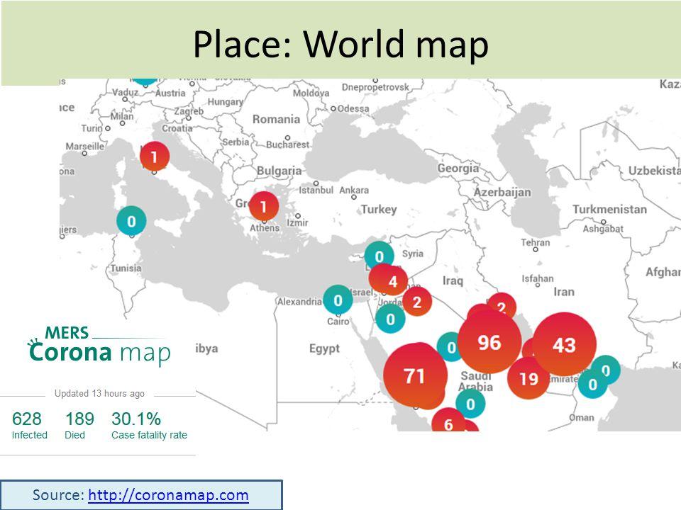 Place: World map Source: http://coronamap.comhttp://coronamap.com