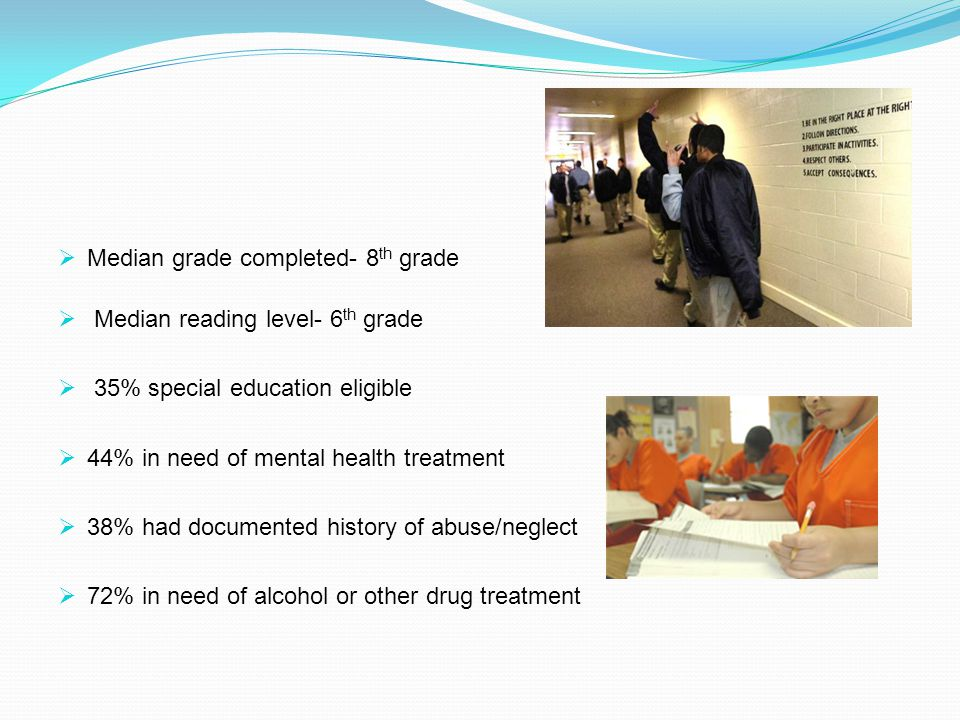  Median grade completed- 8 th grade  Median reading level- 6 th grade  35% special education eligible  44% in need of mental health treatment  38% had documented history of abuse/neglect  72% in need of alcohol or other drug treatment