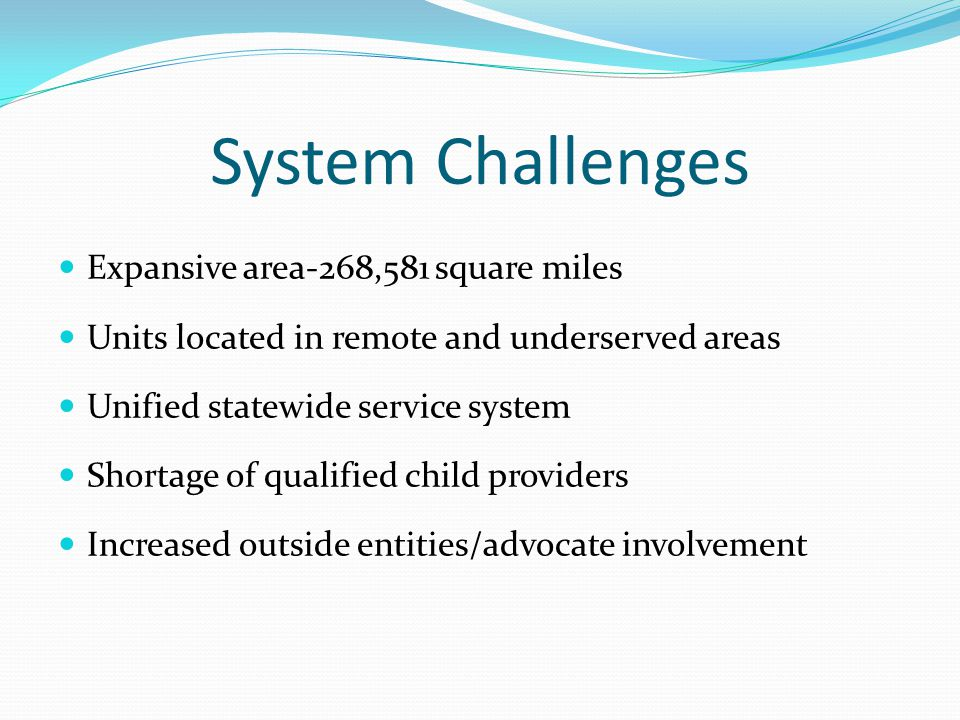 System Challenges Expansive area-268,581 square miles Units located in remote and underserved areas Unified statewide service system Shortage of qualified child providers Increased outside entities/advocate involvement