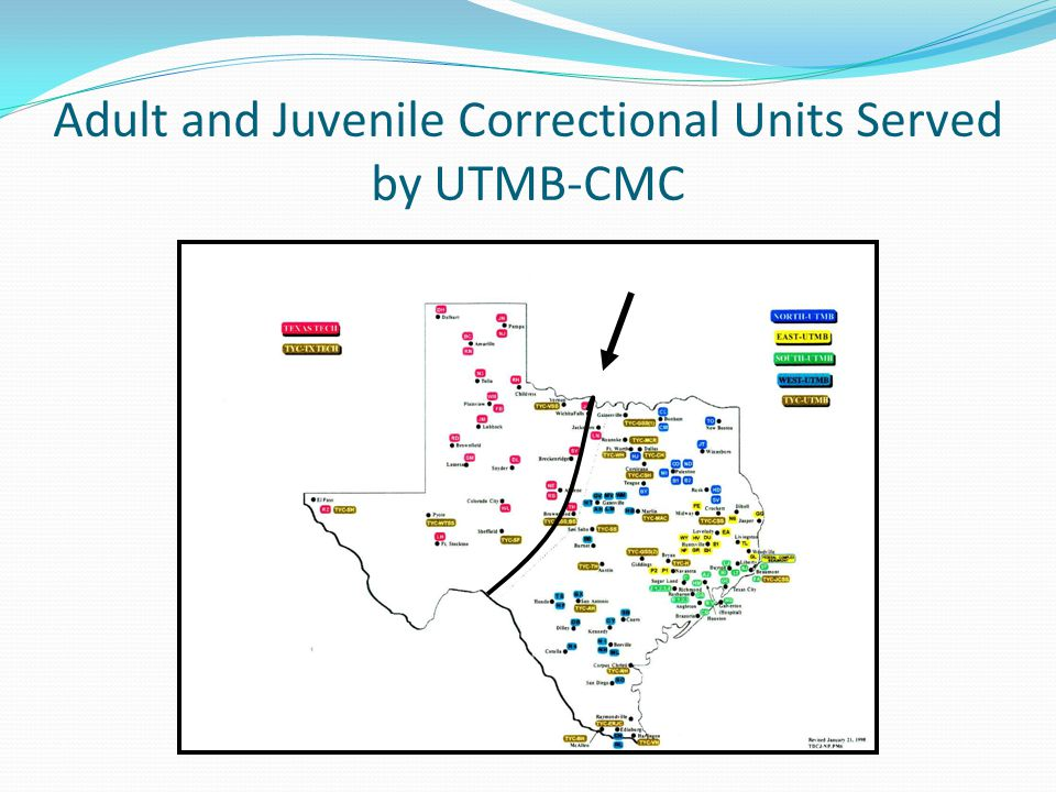 Adult and Juvenile Correctional Units Served by UTMB-CMC