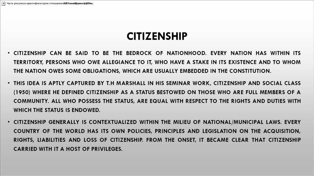 ECOWAS CITIZENSHIP ECOWAS CITIZENSHIP BELONGS TO AN ALTERED CATEGORY OF CITIZENSHIP IN VIEW OF THE FACT THAT ECOWAS IS A SUPRANATIONAL ORGANIZATION, ENCOMPASSING VARIOUS MEMBER STATES EACH WITH ITS OWN CITIZENSHIP REGIME THUS, CITIZENSHIP RULES DO NOT BELONG IN AN ABSTRACT, SEPARATE COMPARTMENT THAT IS PECULIAR TO ECOWAS QUA THE REGIONAL BODY THAT IT IS.