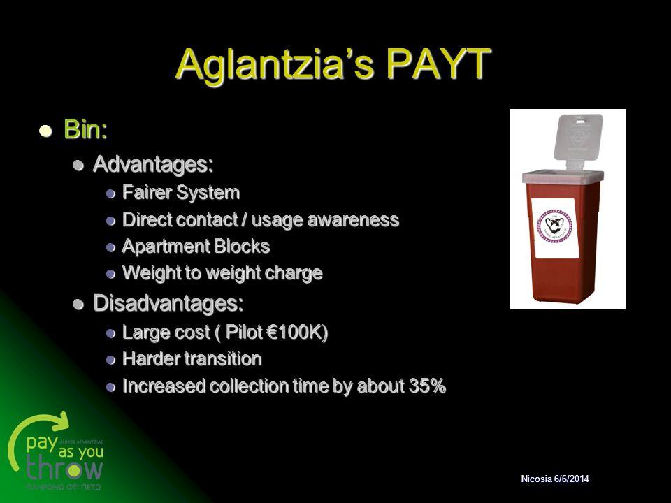 Aglantzia's PAYT Bin: Bin: Advantages: Advantages: Fairer System Fairer System Direct contact / usage awareness Direct contact / usage awareness Apart