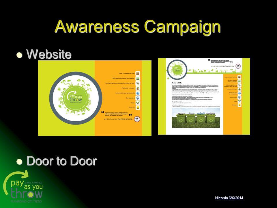 Awareness Campaign Website Website Door to Door Door to Door Nicosia 6/6/2014