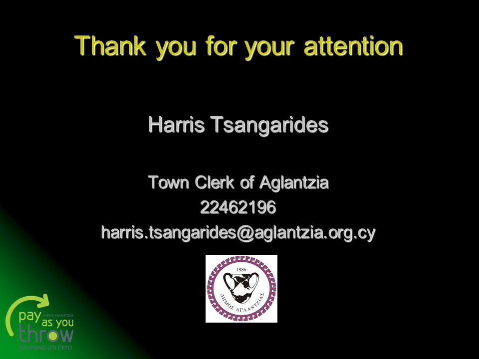 Thank you for your attention Harris Tsangarides Town Clerk of Aglantzia 22462196harris.tsangarides@aglantzia.org.cy