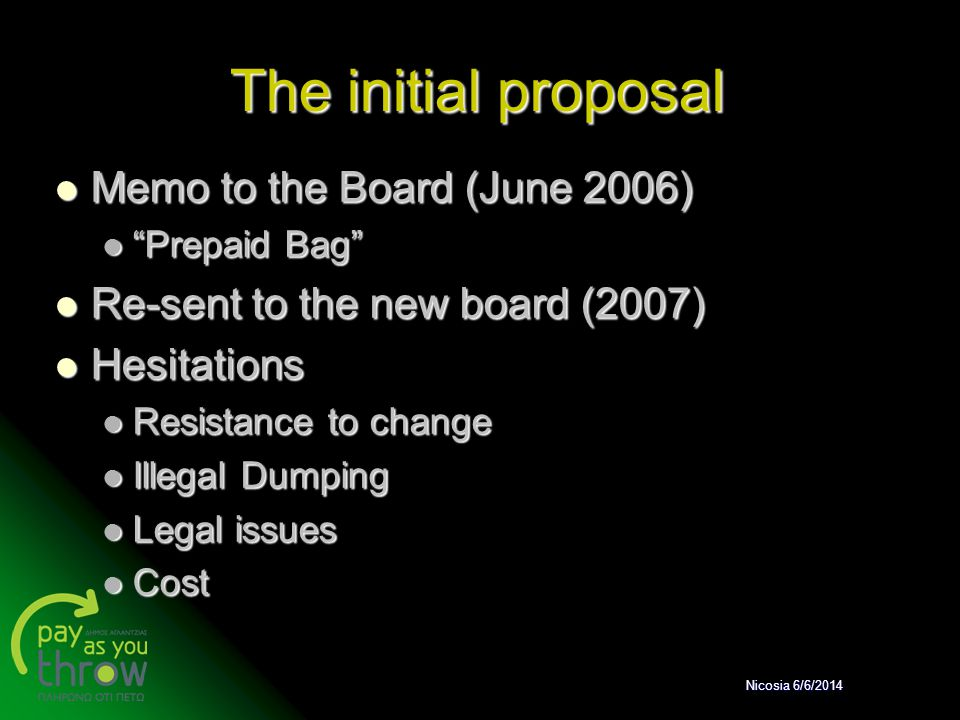 """The initial proposal Memo to the Board (June 2006) Memo to the Board (June 2006) """"Prepaid Bag"""" """"Prepaid Bag"""" Re-sent to the new board (2007) Re-sent t"""