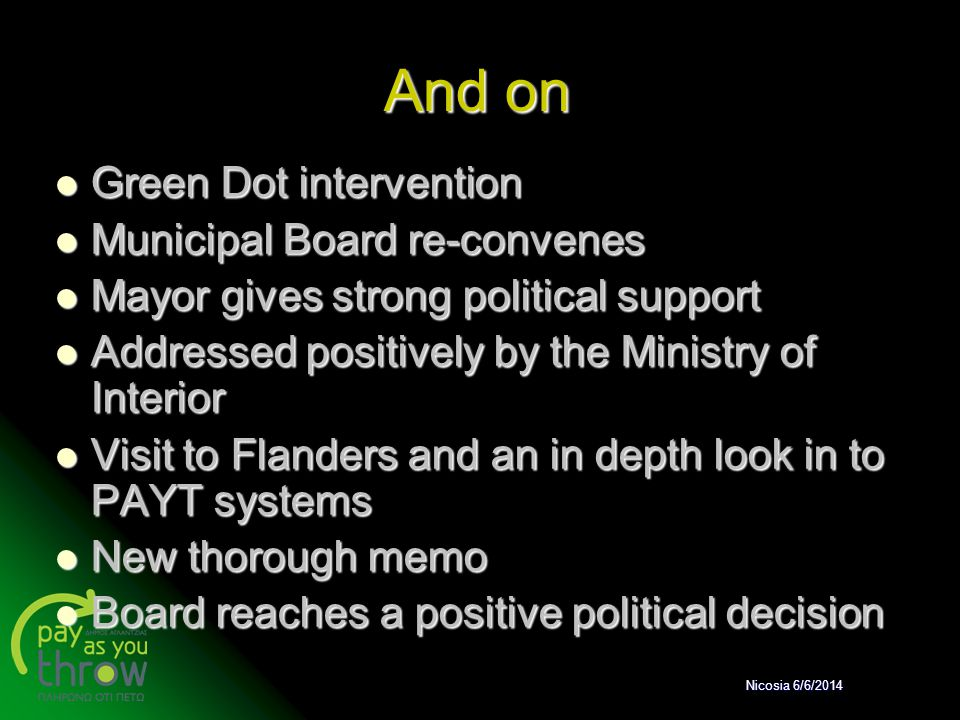 And on Green Dot intervention Green Dot intervention Municipal Board re-convenes Municipal Board re-convenes Mayor gives strong political support Mayo
