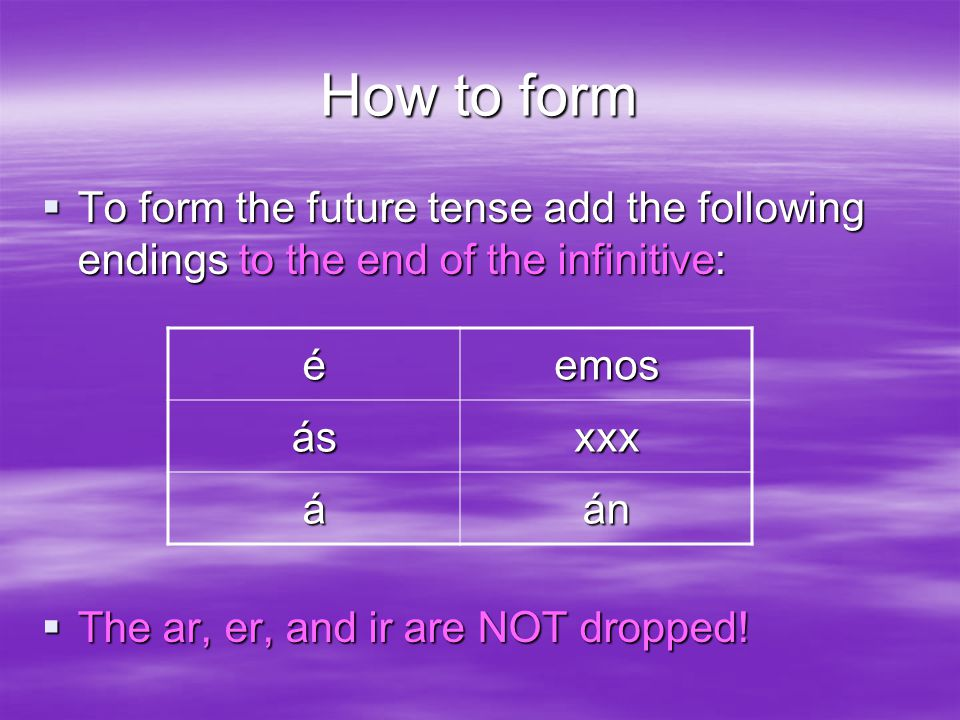 How to form  To form the future tense add the following endings to the end of the infinitive:  The ar, er, and ir are NOT dropped.