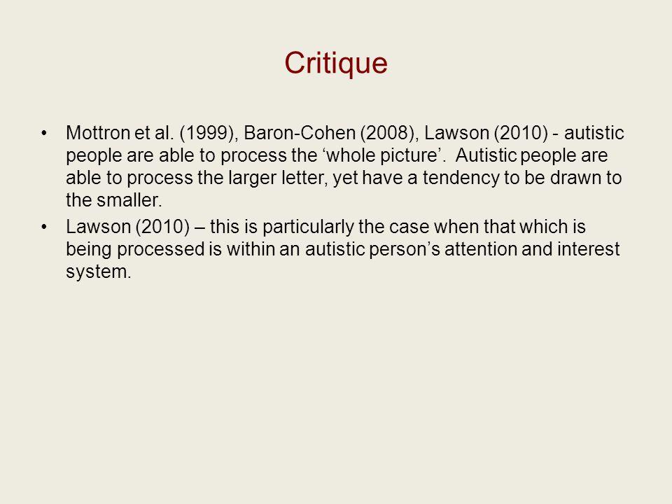 Critique Mottron et al.