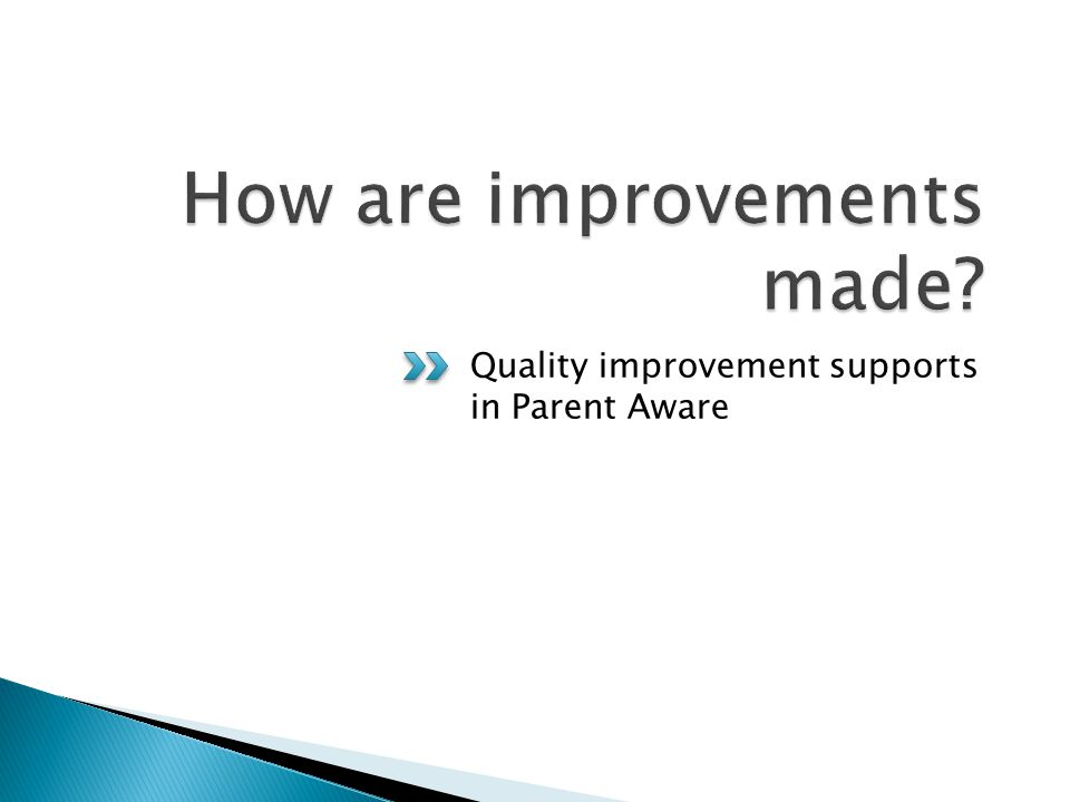 Quality improvement supports in Parent Aware