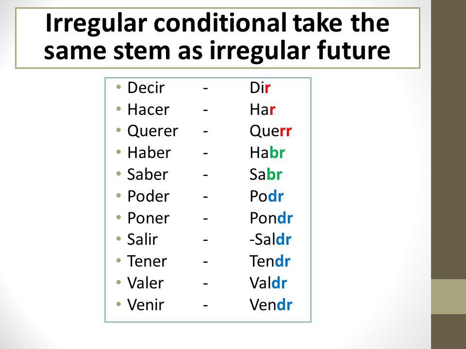 Irregular conditional take the same stem as irregular future Decir-Dir Hacer-Har Querer-Querr Haber-Habr Saber-Sabr Poder- Podr Poner-Pondr Salir--Saldr Tener-Tendr Valer-Valdr Venir- Vendr