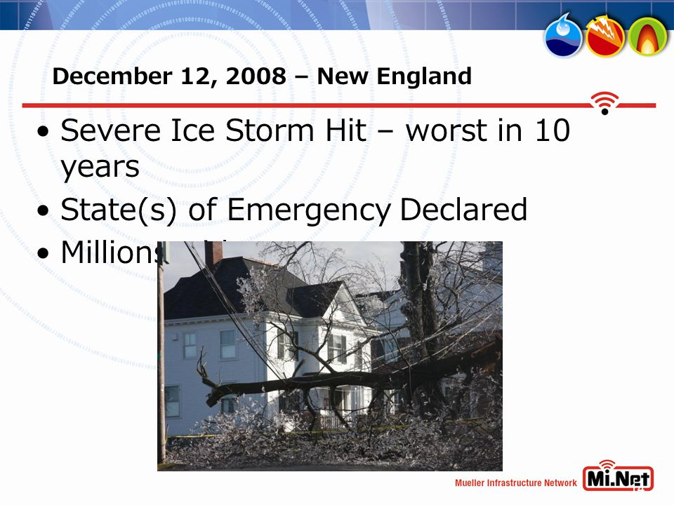 14 December 12, 2008 – New England Severe Ice Storm Hit – worst in 10 years State(s) of Emergency Declared Millions without power