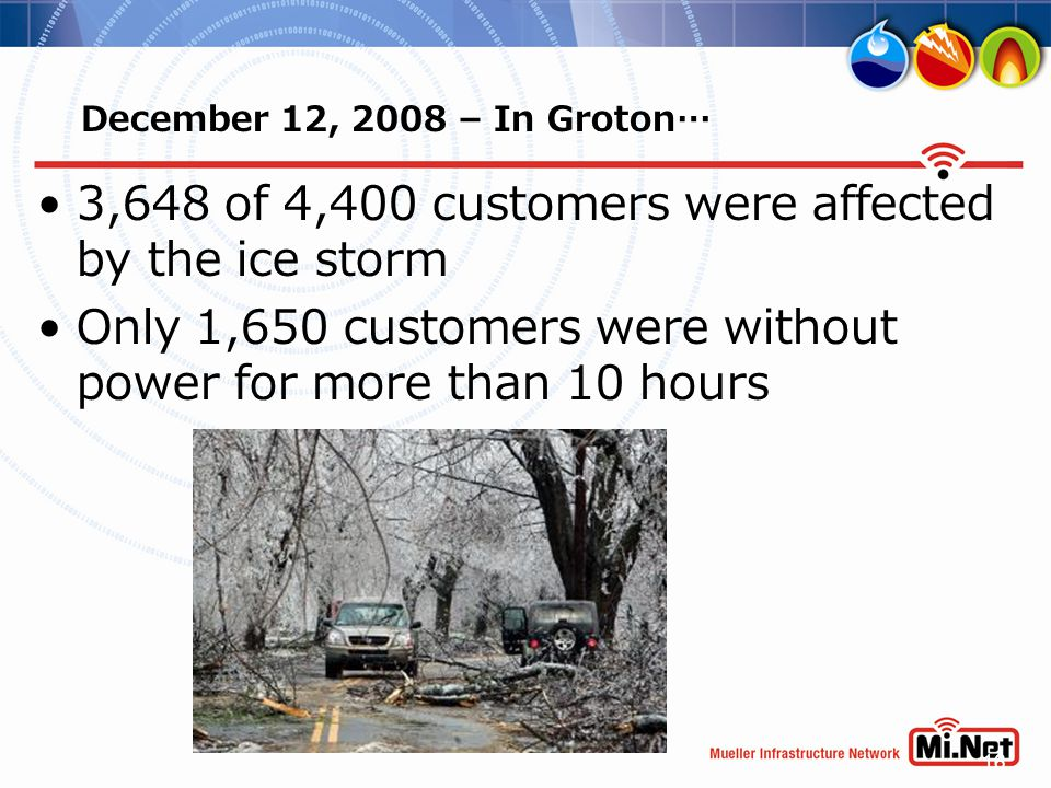 16 December 12, 2008 – In Groton… 3,648 of 4,400 customers were affected by the ice storm Only 1,650 customers were without power for more than 10 hou