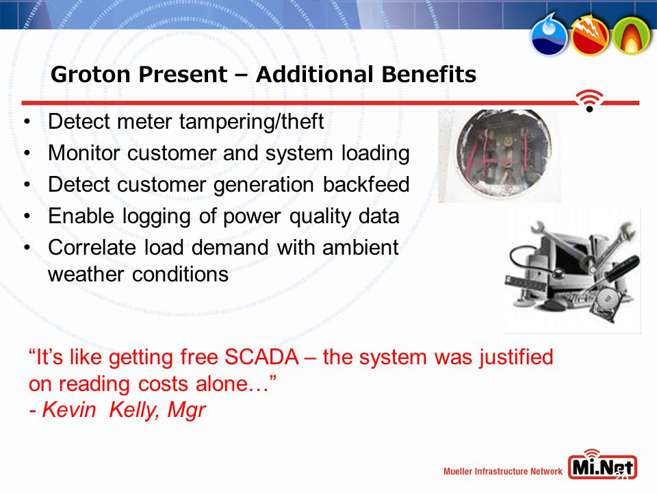 26 Groton Present – Additional Benefits Detect meter tampering/theft Monitor customer and system loading Detect customer generation backfeed Enable lo