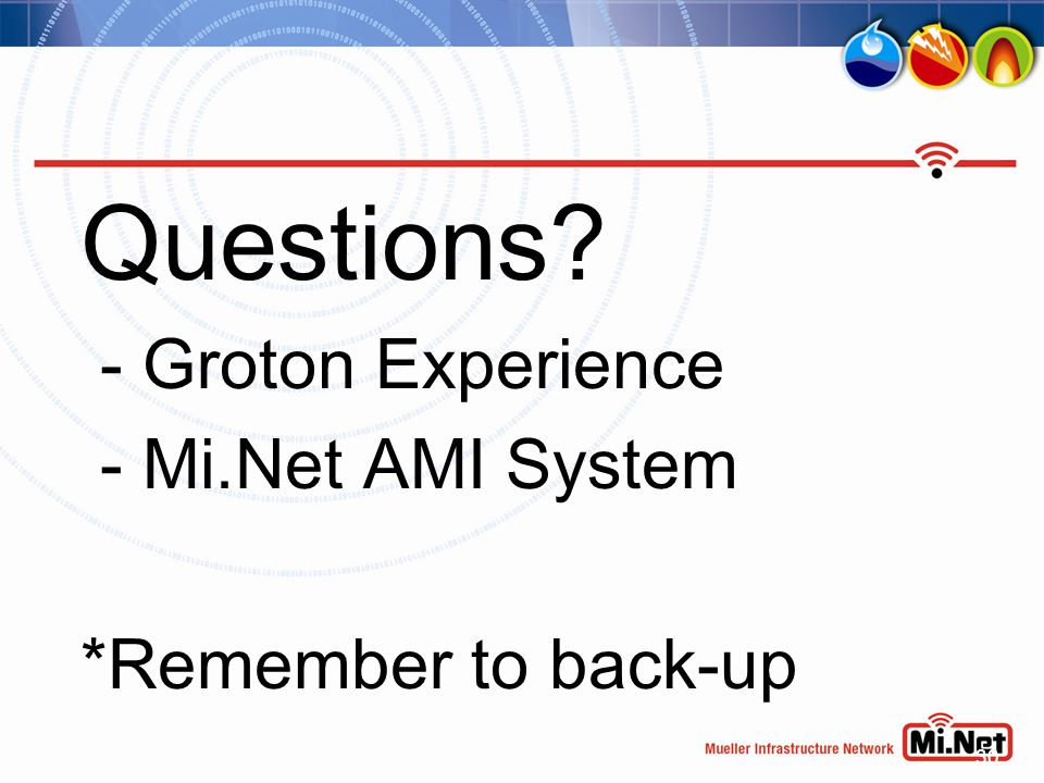 30 Questions? - Groton Experience - Mi.Net AMI System *Remember to back-up