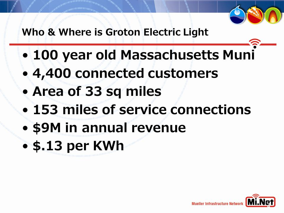 4 100 year old Massachusetts Muni 4,400 connected customers Area of 33 sq miles 153 miles of service connections $9M in annual revenue $.13 per KWh