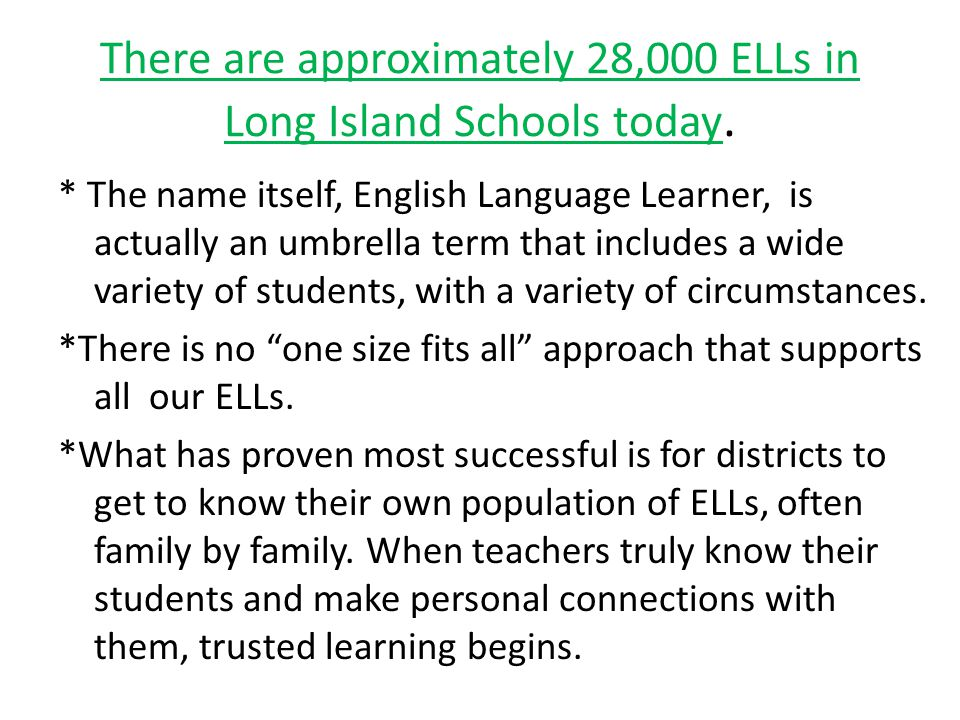 There are approximately 28,000 ELLs in Long Island Schools today.