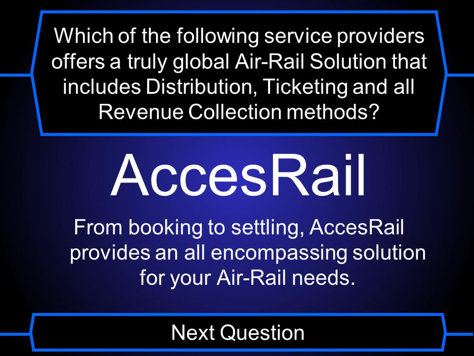 Which of the following service providers offers a truly global Air-Rail Solution that includes Distribution, Ticketing and all Revenue Collection methods.