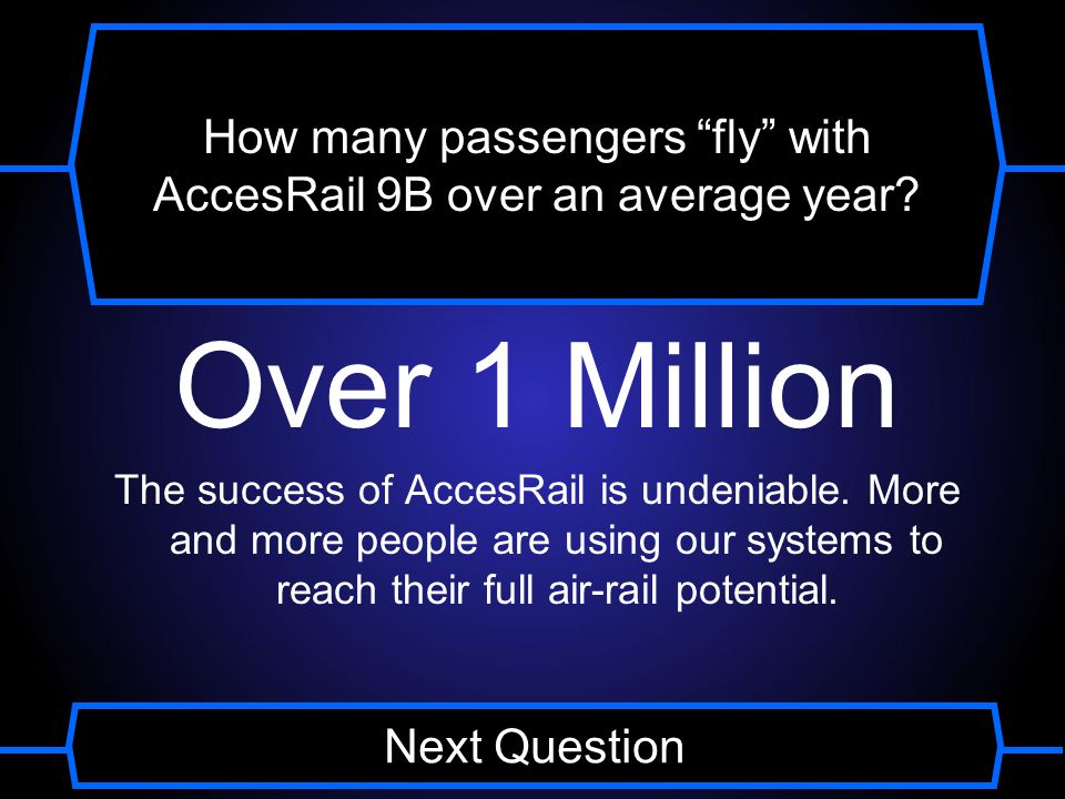 How many passengers fly with AccesRail 9B over an average year.