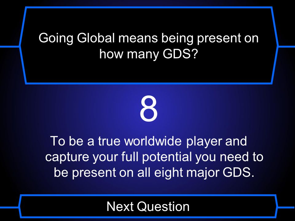 Going Global means being present on how many GDS A 8 B 6 C 4 D 2