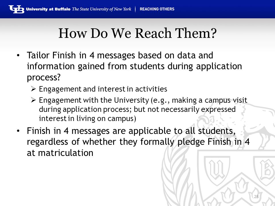 How Do We Reach Them? 28 Tailor Finish in 4 messages based on data and information gained from students during application process?  Engagement and i