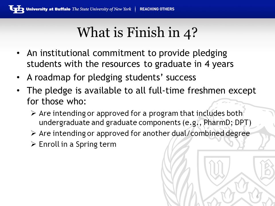 What is Finish in 4? An institutional commitment to provide pledging students with the resources to graduate in 4 years A roadmap for pledging student
