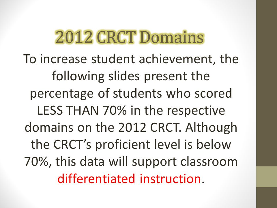 To increase student achievement, the following slides present the percentage of students who scored LESS THAN 70% in the respective domains on the 201