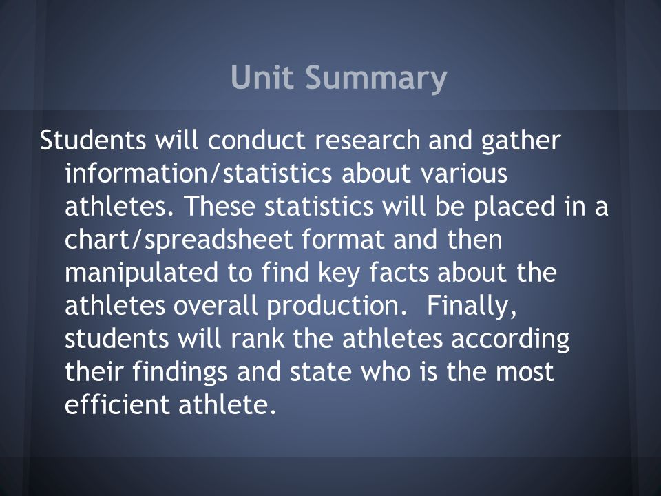 Unit Summary Students will conduct research and gather information/statistics about various athletes. These statistics will be placed in a chart/sprea