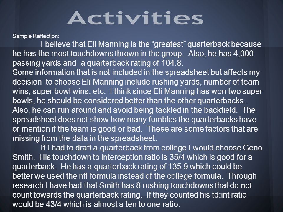 "Sample Reflection: I believe that Eli Manning is the ""greatest"" quarterback because he has the most touchdowns thrown in the group. Also, he has 4,000"