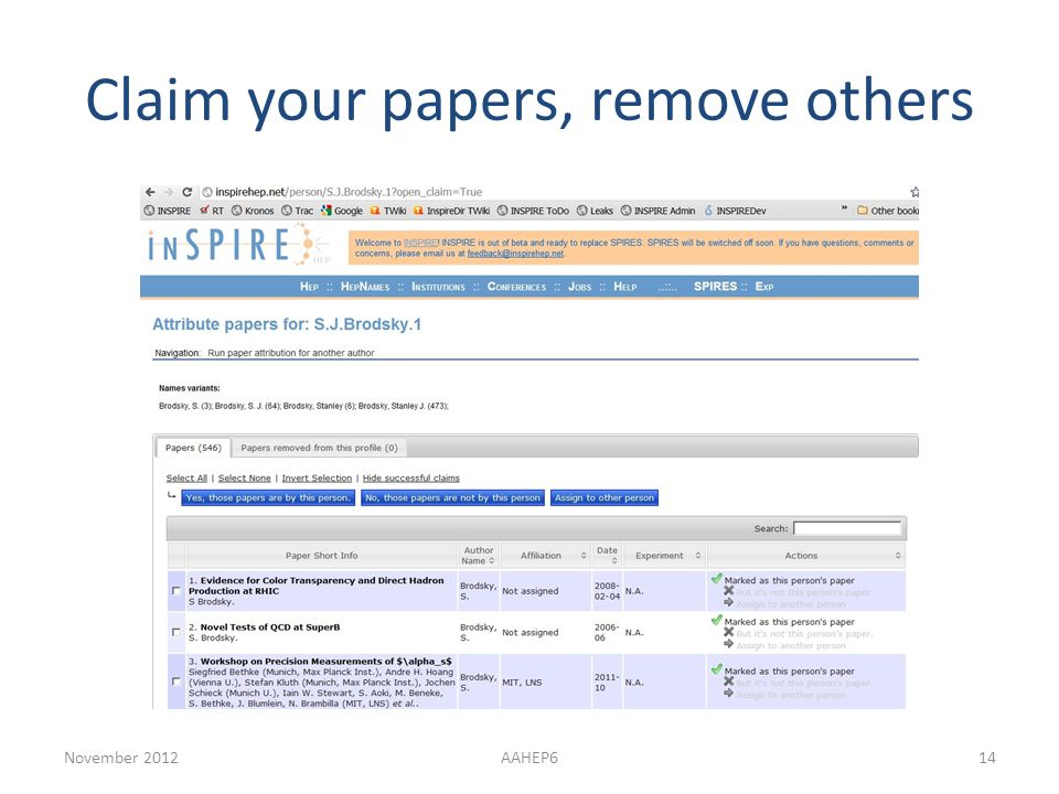 Claim your papers, remove others November 2012AAHEP614