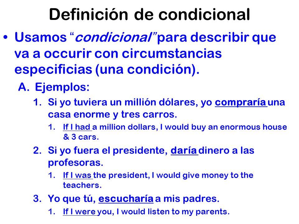 Definición de condicional Usamos condicional para describir que va a occurir con circumstancias especificias (una condición).