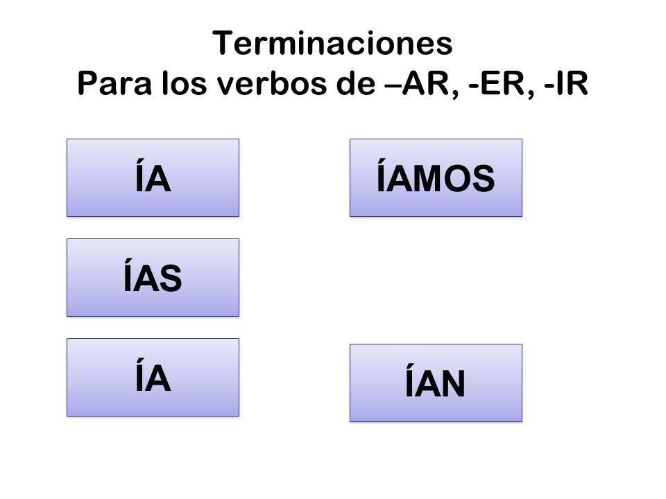 Terminaciones Para los verbos de –AR, -ER, -IR ÍA ÍAS ÍA ÍAMOS ÍAN