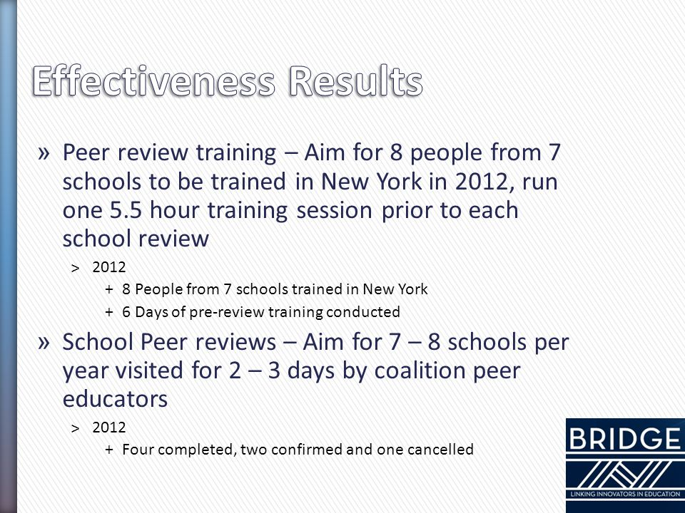 » Peer review training – Aim for 8 people from 7 schools to be trained in New York in 2012, run one 5.5 hour training session prior to each school rev