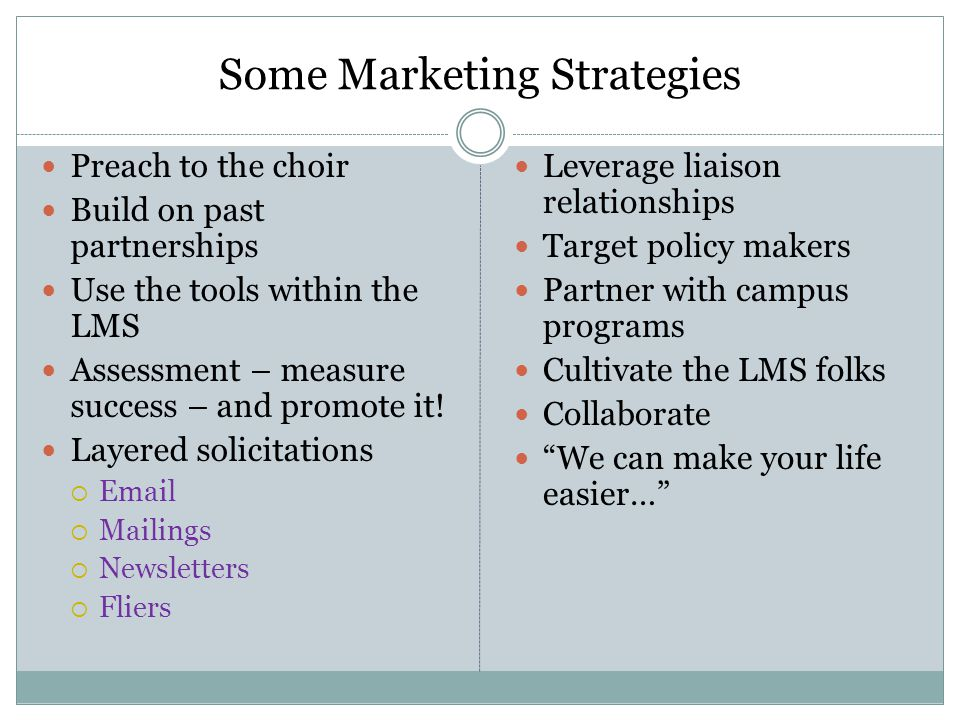Some Marketing Strategies Preach to the choir Build on past partnerships Use the tools within the LMS Assessment – measure success – and promote it.