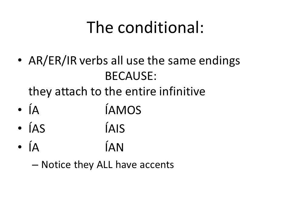 The conditional: AR/ER/IR verbs all use the same endings BECAUSE: they attach to the entire infinitive ÍAÍAMOS ÍASÍAIS ÍAÍAN – Notice they ALL have accents