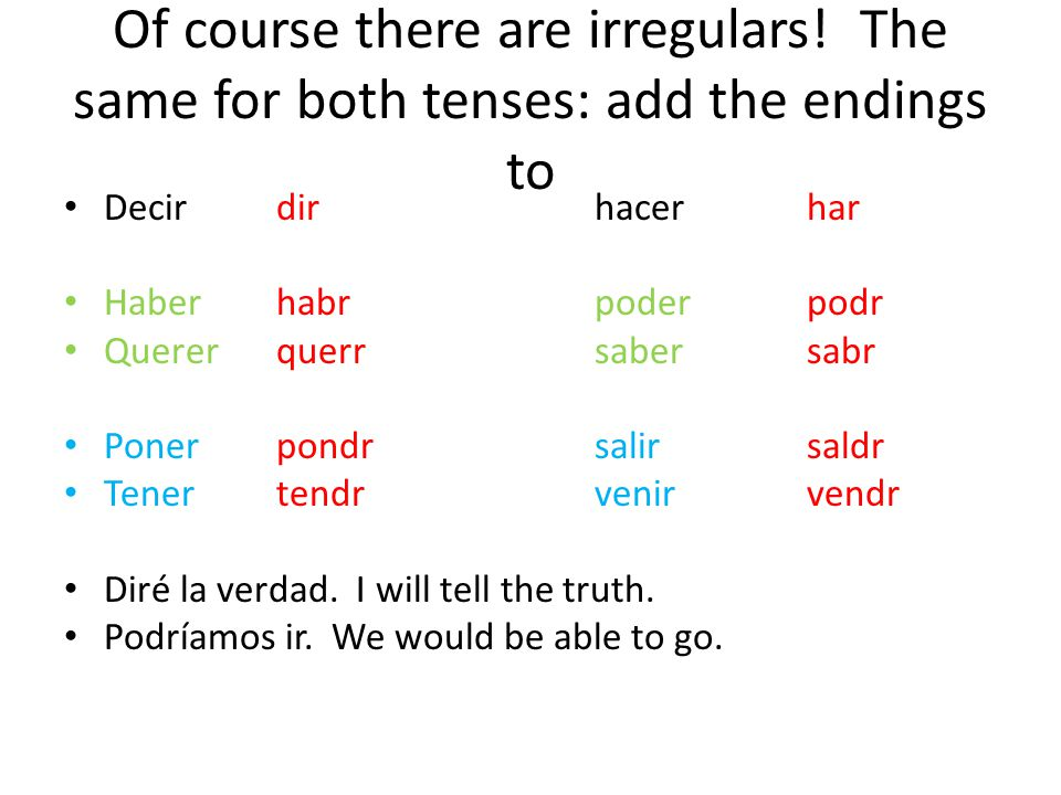 Of course there are irregulars! The same for both tenses: add the endings to Decirdirhacer har Haberhabrpoderpodr Quererquerrsabersabr Ponerpondrsalir