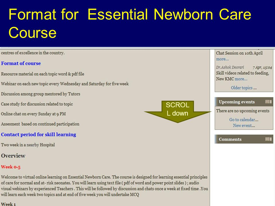 Format for Essential Newborn Care Course SCROL L down